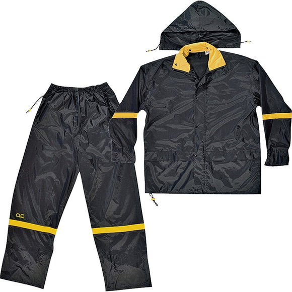 Custom Leathercraft R103 Rain Suit 190T Nylon Fabric, Black/Yellow (Multiple Sizes Available)