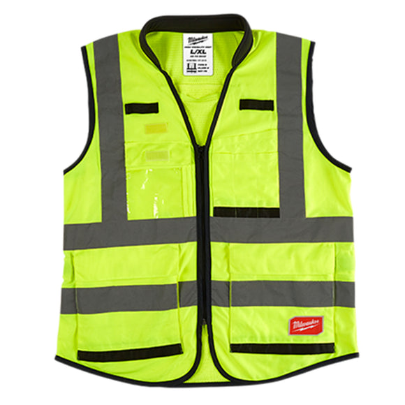 Milwaukee Yellow High Visibility Performance Safety Vests (Sizes S to XXXL)