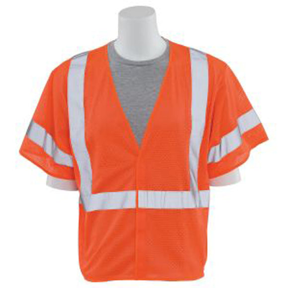 ERB Industries 14559 S662 Class 3 Mesh Safety Vest Orange Large