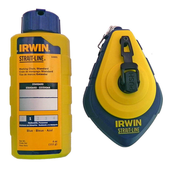 IRWIN Industrial 64494 Speed-Line Refillable High-Speed Chalk Line Reel with 4-ounce Chalk, 100-foot, Blue Chalk