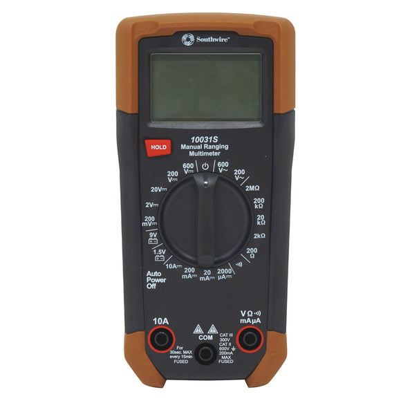 Southwire 10031S 65031140 Manual-Ranging Digital Multimeter, 600V AC/DC
