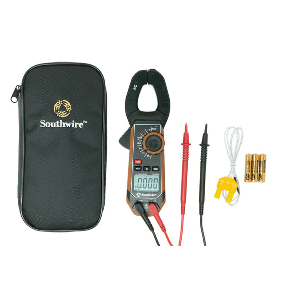 Southwire 21510N 65031501 400A AC Clamp Meter with Built-In NCV, Worklight, and Third-Hand Test Probe Holder