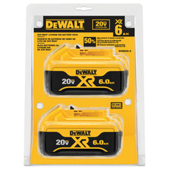 DeWalt DCB206-2 20V MAX PREMIUM XR 6.0AH LITHIUM ION BATTERY PACK 2P