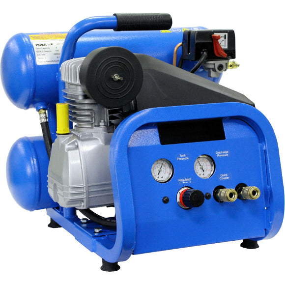 Puma Industries DP2022S Professional Oil-Free Twin Tank Air Compressor, 2 gal Tanks, 2 hp, 4.6 CFM