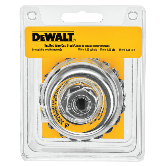 Dewalt DW4916 Knot Wire Cup Brush, 4 In Dia X 5/8-11, 0.023 In Wire, Carbon Steel