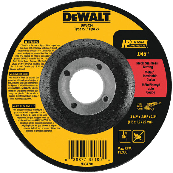 Dewalt HP Metal Cutting Wheels Type 27 (Multiple Sizes Available)