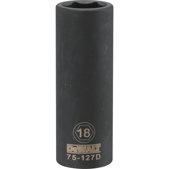 Dewalt DWMT75127OSP Deep Impact Socket, 1/2 In, 18 Mm, 6 Point