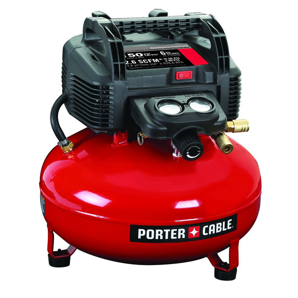 Porter-Cable C2002 Air Compressor, 6 Gal, 150 Psi, 2.6 Scfm At 90 Psi