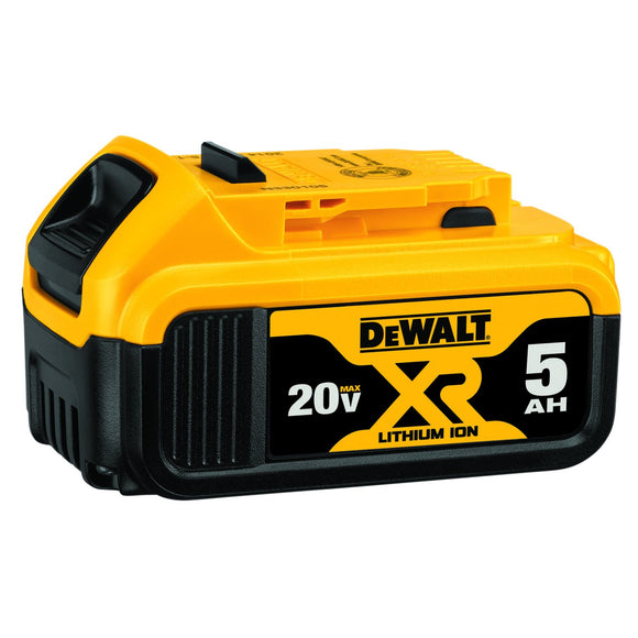 DeWalt DCB205-2 Premium Battery, 5 Ah Lithium Ion Battery, For Use With Dewalt 20 V Cordless Tools