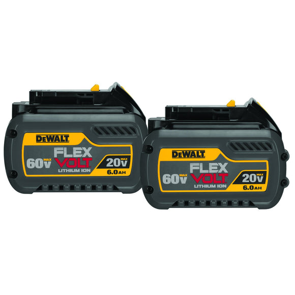DeWalt DCB606-2 Cordless Battery Pack, 20/60 V, 6 Ah Li-Ion Battery, 1 Hr Charge Time