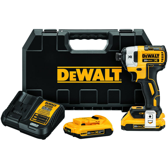 Dewalt DCF886D2 Cordless Impact Driver Kit, 20 V, 2 Ah Li-Ion Battery, 1/4 In Straight Configuration Drive, 1500 In-Lb