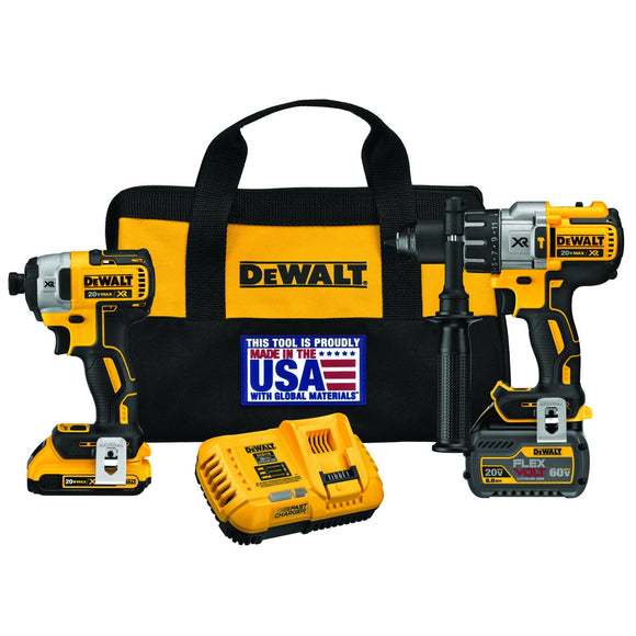DeWalt DCK299D1T1 Hammerdrill And Impact Drill Kit, 2 And 6 Ah Li-Ion Battery, 38250 Bpm, 2 Pieces, 20 Vdc