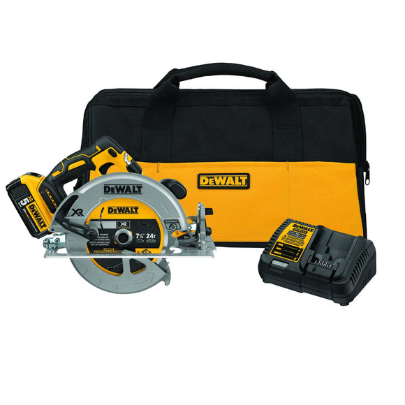DeWalt DCS570P1 Cordless, Circular Saw Kit, 2-9/16 In, 57 Deg Bevel, Lithium-Ion Battery, 900 W, 5200 Rpm, 7-1/4 In