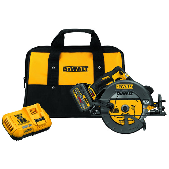 Dewalt DCS575T1 Cordless Circular Saw With Brake Kit, 2-9/16 In, 60 V, Li-Ion Battery, 1600 W, 5800 Rpm, 7-1/4 In
