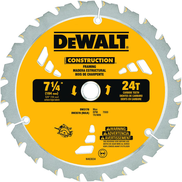 DeWalt DW3578B10 Combination Circular Saw Blade, 7-1/4 In Dia X 0.045 In T, 24 Teeth, 5/8 In Arbor