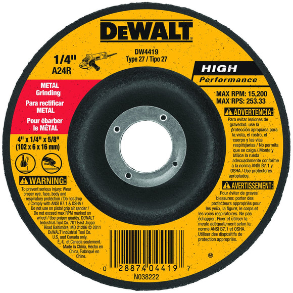 DeWalt DW4419 Hp Metal Grinding Wheels Type 27