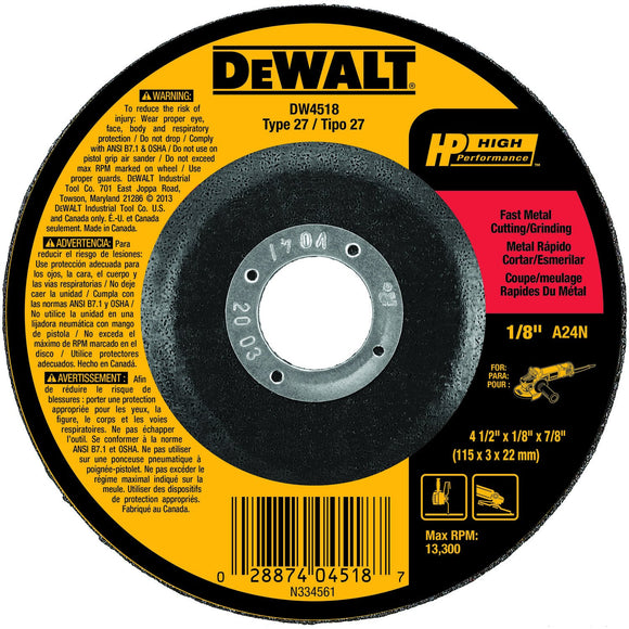 Dewalt DW4518 Type 27 Depressed Center High Performance Grinding Wheel, 4-1/2 In Dia X 1/8 In T