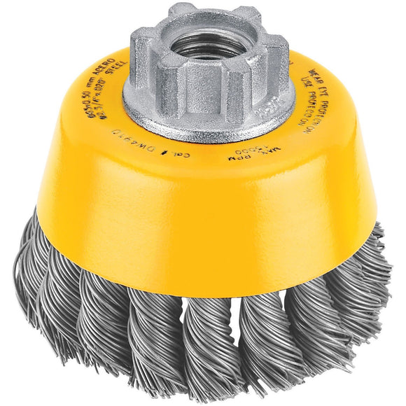 Dewalt DW4910 Knot Wire Cup Brush, 3 In Dia X 5/8-11, 0.02 In Wire, Carbon Steel