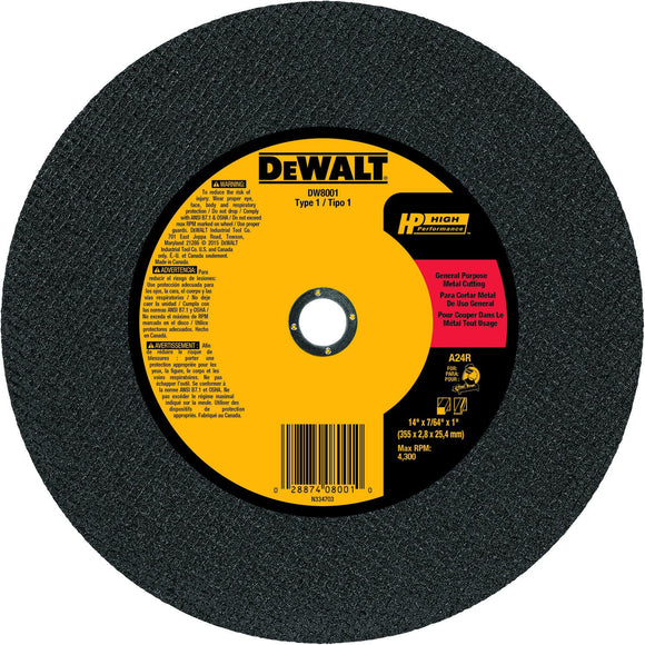 Dewalt DW8001 Type 1 High Performance General Purpose Chop Saw Wheel, 14 In Dia X 7/64 In T