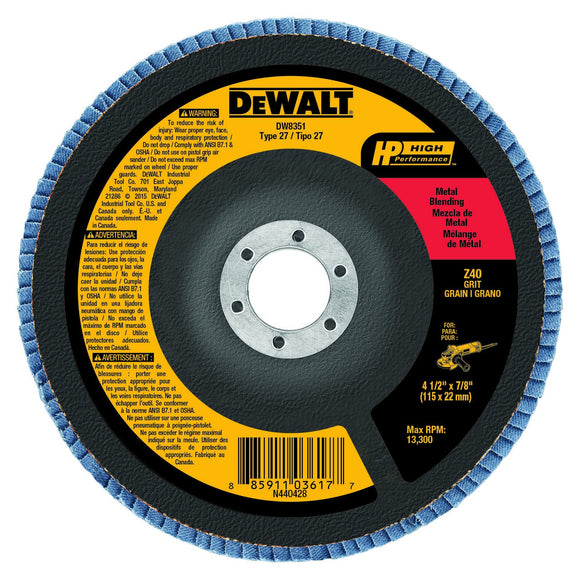Dewalt DW8351 Coated High Performance Type 27 Flap Disc With Hub, 4-1/2 In, 40 Grit, 7/8 In Arbor