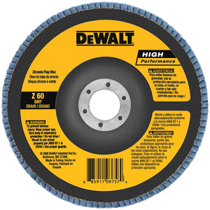 Dewalt DW8352 Coated High Performance Type 27 Flap Disc With Hub, 4-1/2 In, 60 Grit, 7/8 In Arbor