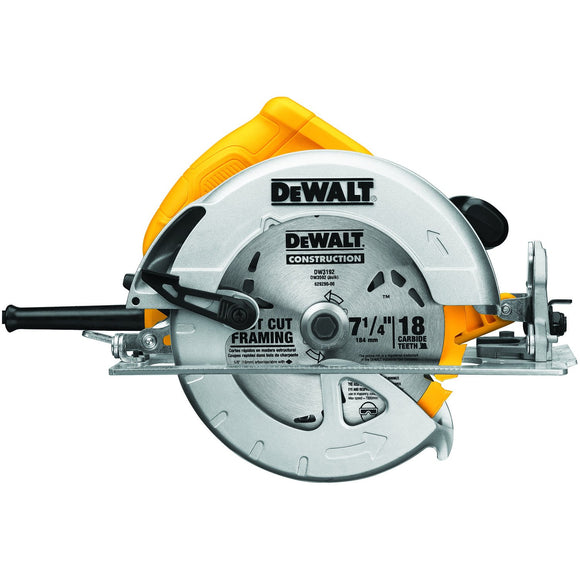 Dewalt DWE575 Lightweight Corded Circular Saw, 120 V, 15 A, 1950 W, 7-1/4 In
