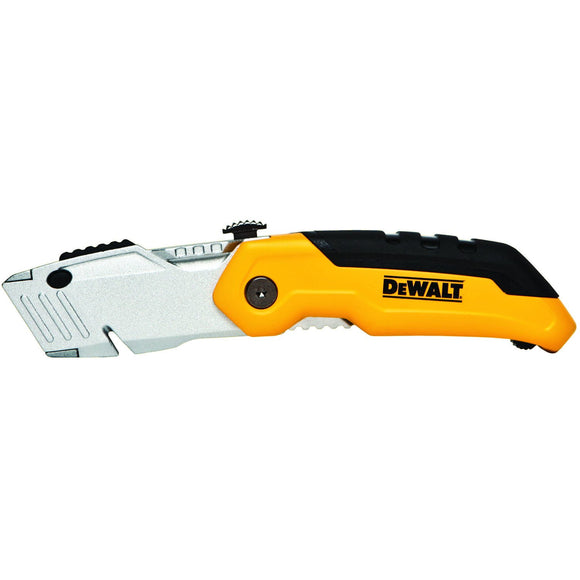 DeWalt DWHT10035L Folding Utility Knife, 2-1/2 In X 6-1/4 In L, Black/Yellow/Silver