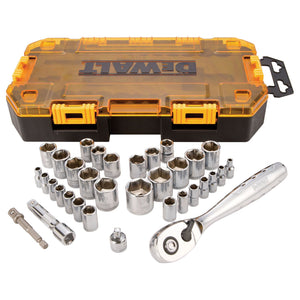 DeWalt DWMT73804 Metric/Sae Socket Wrench Set, 34 Pieces, 1/4 Or 3/8 In