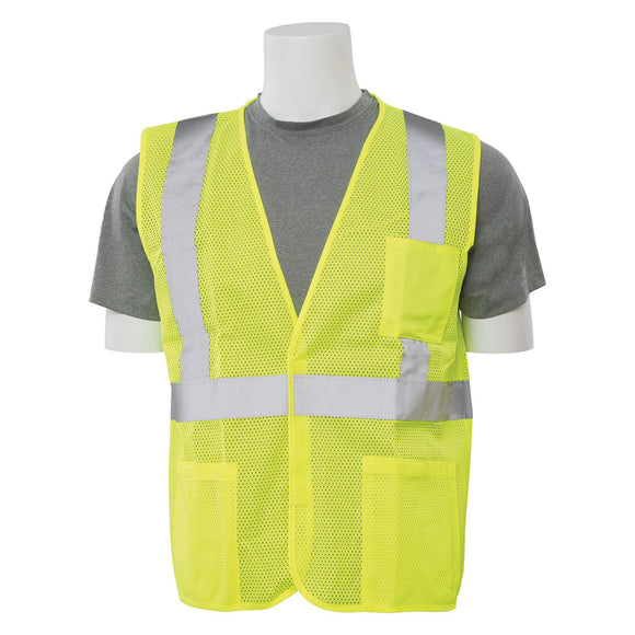 ERB Industries S362P Class 2 Economy Lime Mesh Vest (Sizes: M-3XL)