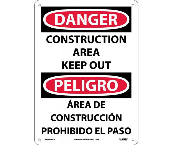 NMC ESD266RB Bilingual Sign Danger Construction (Plastic 14