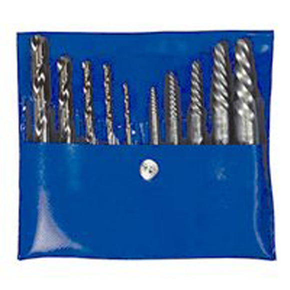 Hanson 11117 Combination Extractor Drill Bit Set, 10 Pieces, Spiral Flute