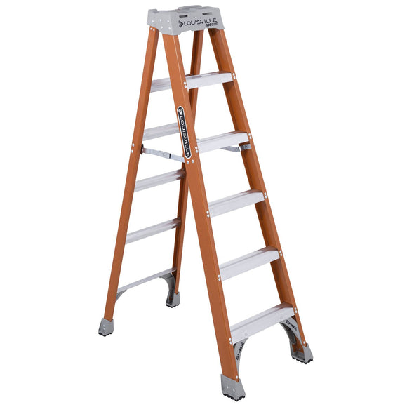 Louisville Ladder FS1506 6-Foot Fiberglass Ladder, 300-Pound Capacity, Type 1A