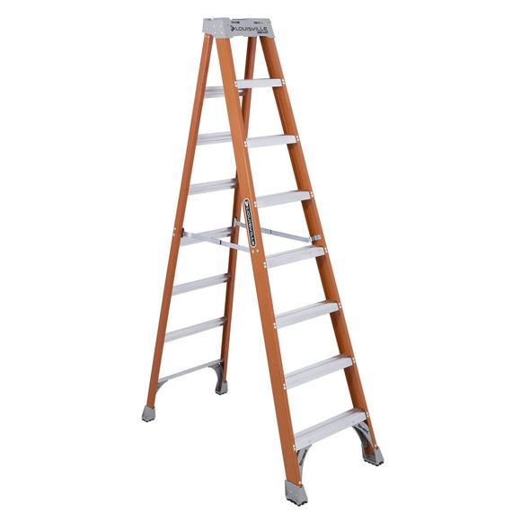 Louisville Ladder FS1508 Extra Heavy Duty Step Ladder, 300 Lb, 3 In Non-Conductive Rail