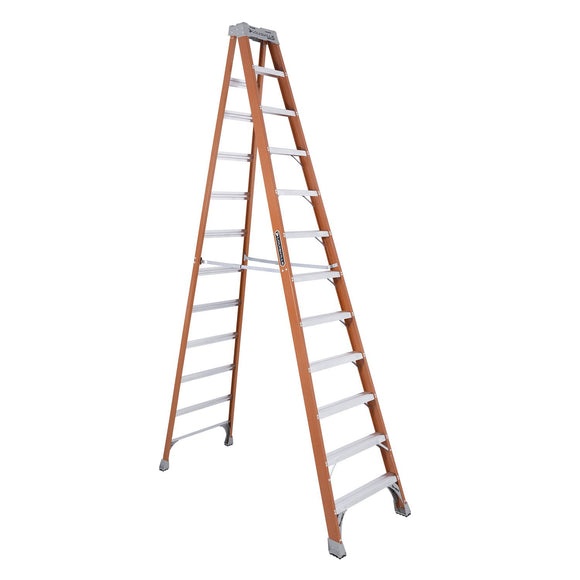 Louisville Ladder FS1512 Extra Heavy Duty Step Ladder, 300 Lb, 3 In Non-Conductive Rail
