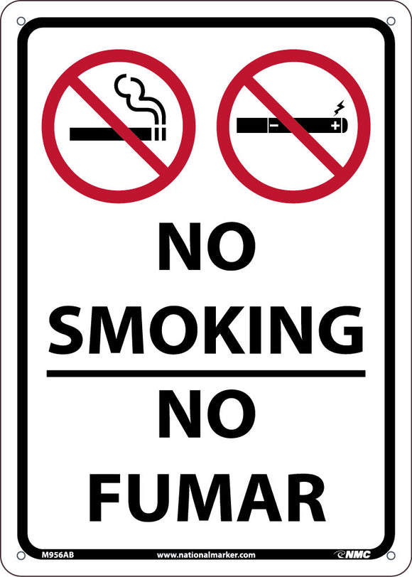 National Marker Company M956RB Plastic No Smoking Bilingual Sign 14