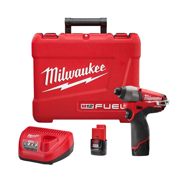 Milwaukee 2453-22 M12 Cordless Impact Driver Kit, 12 V, Lithium-Ion, 2 Ah, 0 - 2700/0 - 3550 Bpm