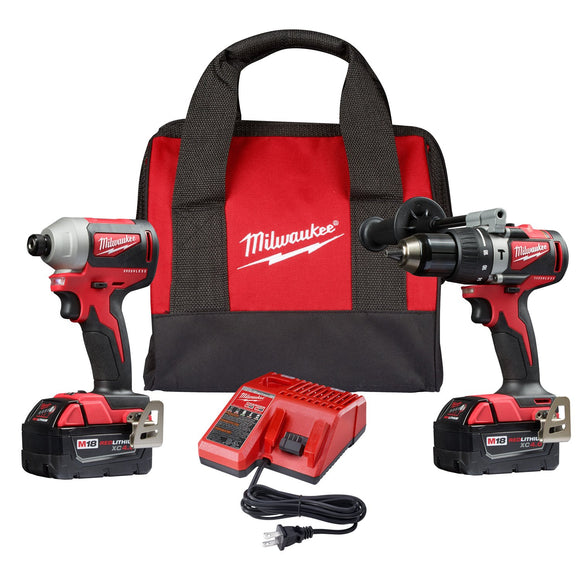 Milwaukee 2893-22 M18 Brushless 2-Tool Combo Kit, Hammer Drill/ 3-Speed Impact Driver
