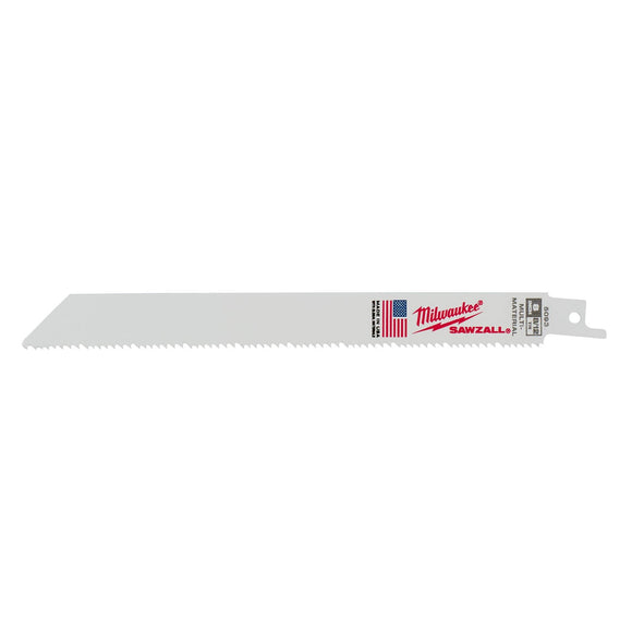 Milwaukee 48-00-5093 Sawzall Bi-Metal Reciprocating Saw Blade, 8 In L X 3/4 In W X 0.05 In T, 8/12 Tpi