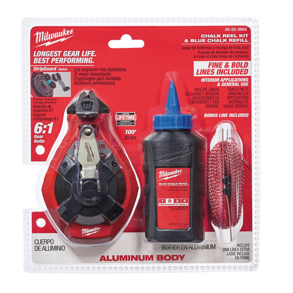 Milwaukee 48-22-3993 100 Ft Aluminum Chalk Reel Kit With Blue Chalk And Bonus Line