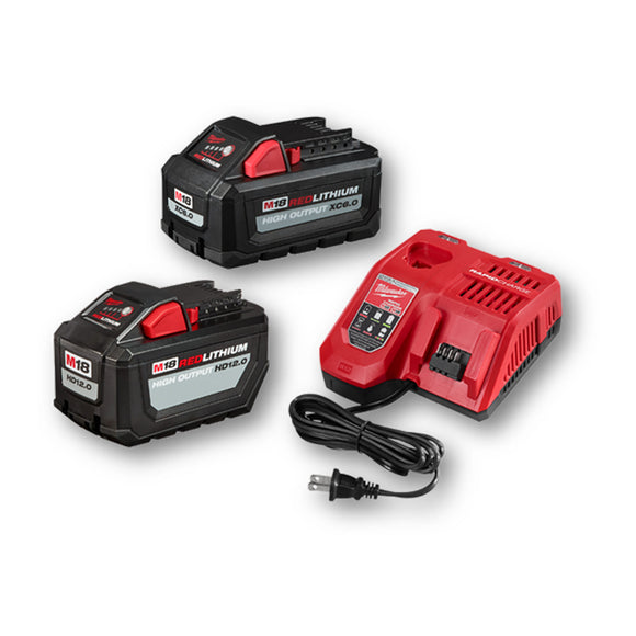 Milwaukee 48-59-1200P M18 REDLITHIUM High Output HD 12.0Ah Battery and Charger Starter Kit W/Free High Output XC 6.0Ah Battery