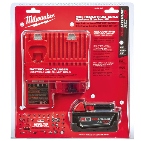 Milwaukee 48-59-1850 / 48-59-1840 M18™ Redlithium™ Xc5.0 System Starter Kit