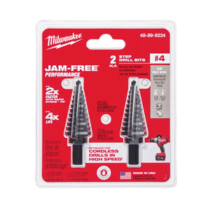 Milwaukee 48-89-9234 Step Drill Bit, 3/16 -7/8 Hole In, 4 Steps, 1/16 In D Step, 2 Flutes, 1/4 In 3-Flat, Hexagonal Shank