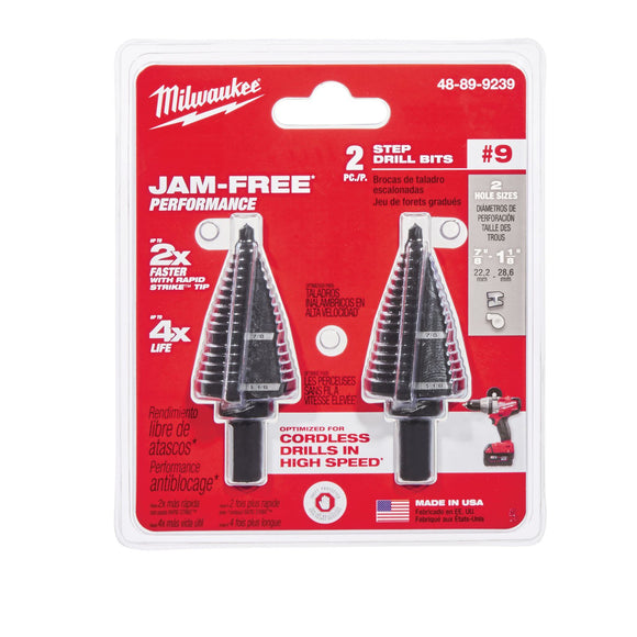 Milwaukee 48-89-9239 Step Drill Bit, 7/8 - 1-1/8 Hole In, 9 Steps, 2 Flutes, 1/4 In 3-Flat, Hexagonal Shank, Steel