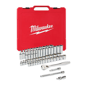 "Milwaukee 48-22-9008 3/8"" Drive 56pc Ratchet & Socket Set - SAE & Metric"