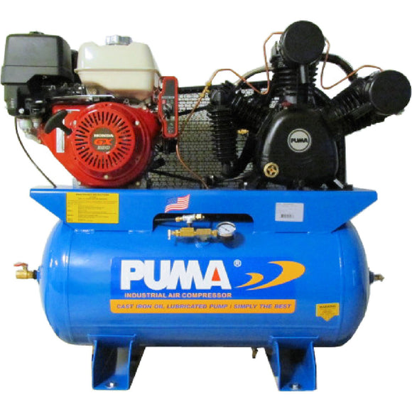 Puma Industries TUK13030HGE 13-HP 30-Gallon Two-Stage Truck Mount Air Compressor w/ Honda Engine & Electric Start