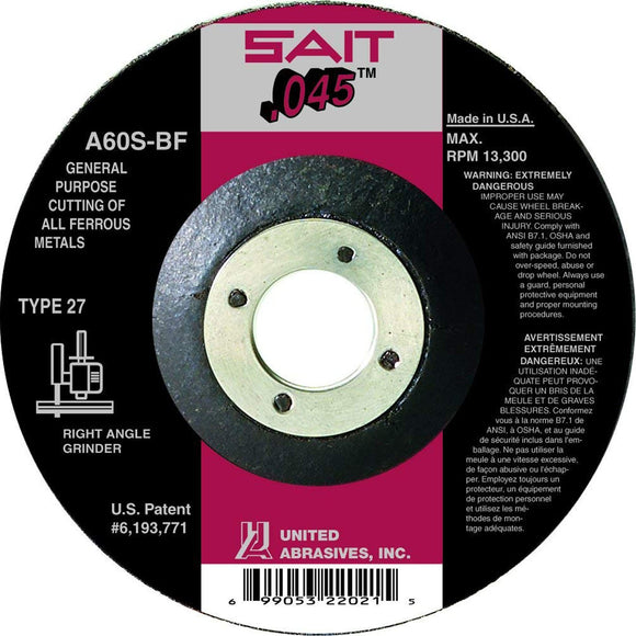 United Abrasives 22021 Metal Cut-Off Wheel 4-1/2 X 7/8