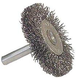 Weiler 36011 Vortec Pro Crimped Crimped Wire Wheel Brush, 3 In Dia X 1/4 In Stem, 0.014 In Wire, Carbon Steel, Coarse
