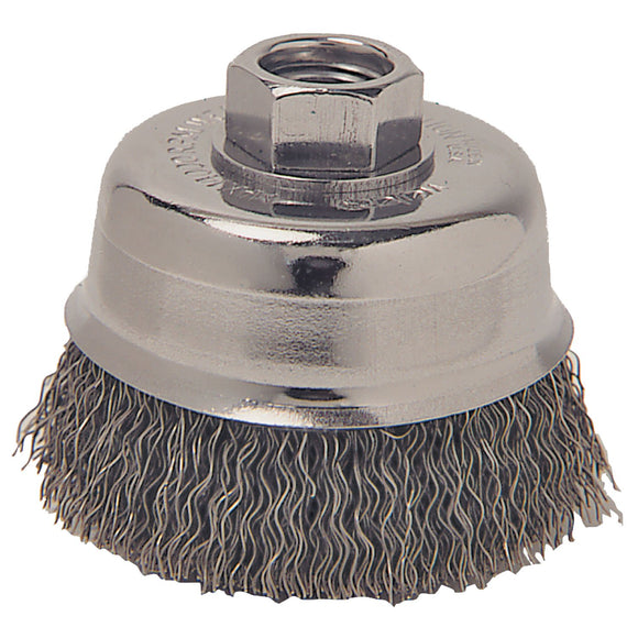 Weiler 36031 Coarse Grade Crimped Wire Cup Brush, 3 In Dia X 5/8-11, 0.014 In Wire
