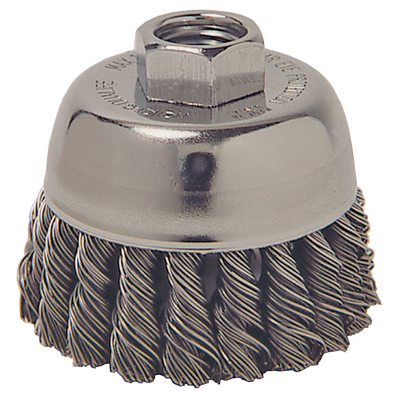 Weiler 36038 Extra Coarse Grade Knot Wire Cup Brush, 3 In Dia X 5/8-11, 0.02 In Wire