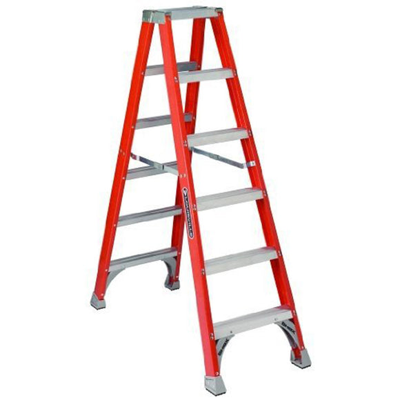Louisville Fm1500 Twin Step Ladder, 300 Lb, 3 In Non-Conductive Rail, 8 Ft